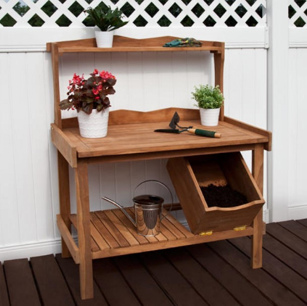 Gergous weatherproof potting bench #pottingbenchideas #benchdesign #pottingbench #benchideas