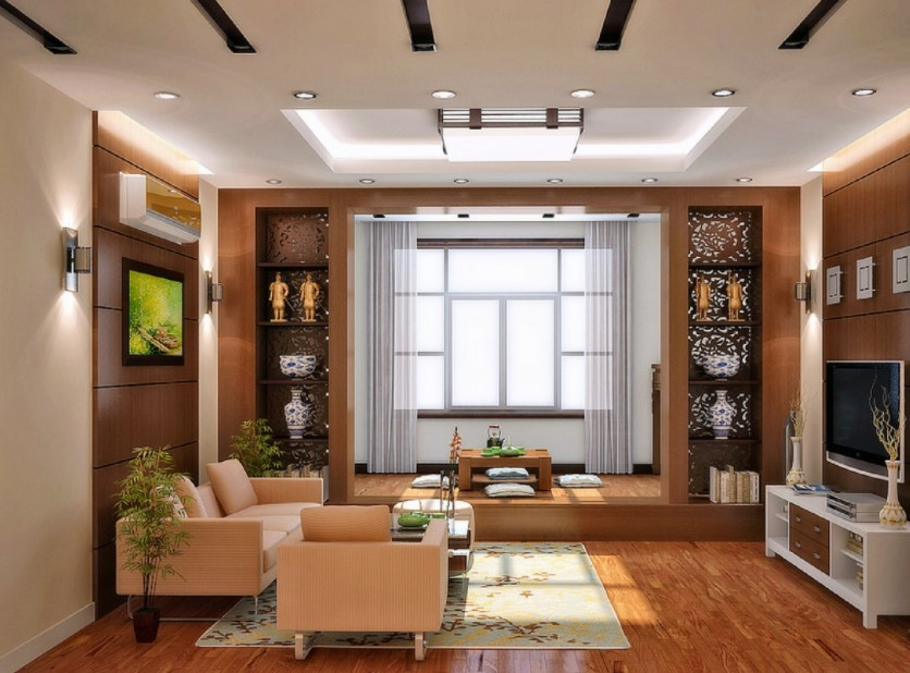 false ceiling design for rectangular living room
