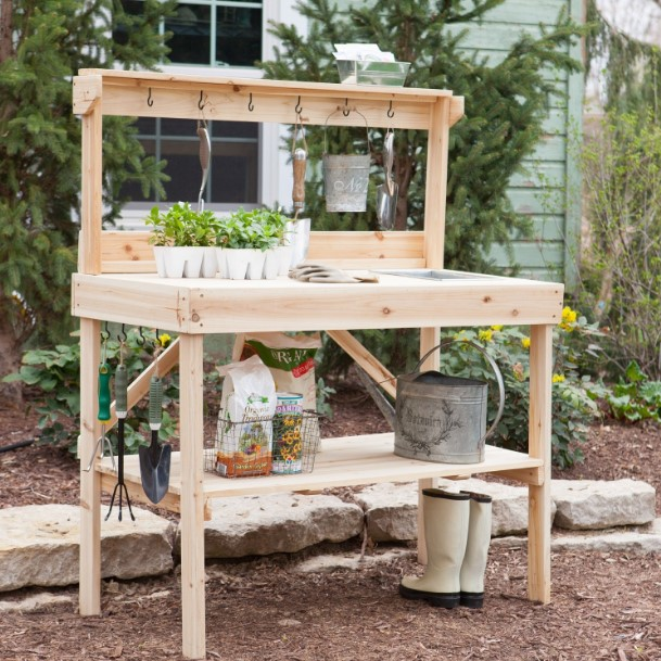 awful vintage potting table #pottingbenchideas #benchdesign #pottingbench #benchideas