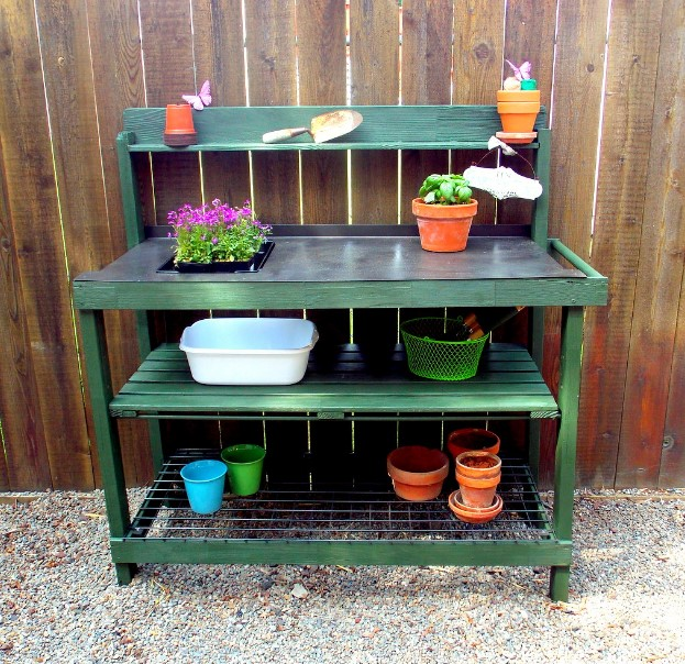dreadful vintage potting bench #pottingbenchideas #benchdesign #pottingbench #benchideas