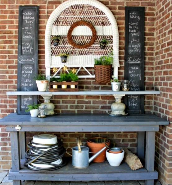 frightening upcycled potting bench #pottingbenchideas #benchdesign #pottingbench #benchideas