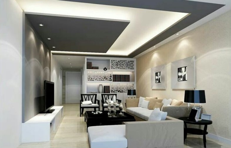 Latest False Ceiling Design For Rectangular Living Room