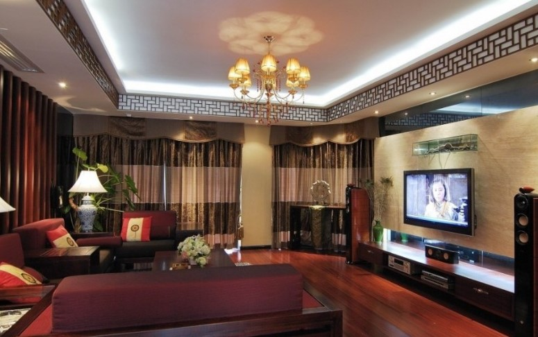 30 latest false ceiling design for rectangular living room for Rectangular living room interior design