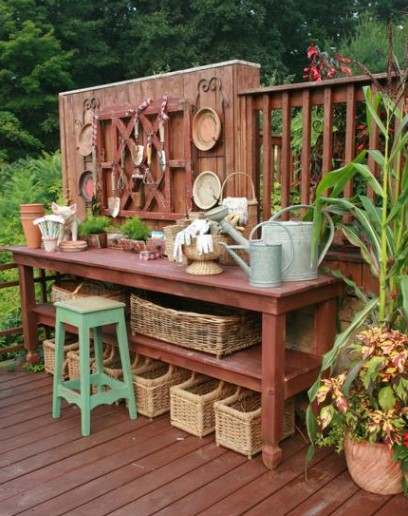 intimidating terrace accents potting bench #pottingbenchideas #benchdesign #pottingbench #benchideas