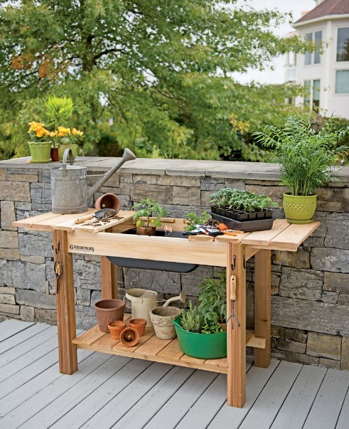 stunning teak outdoor potting bench #pottingbenchideas #benchdesign #pottingbench #benchideas