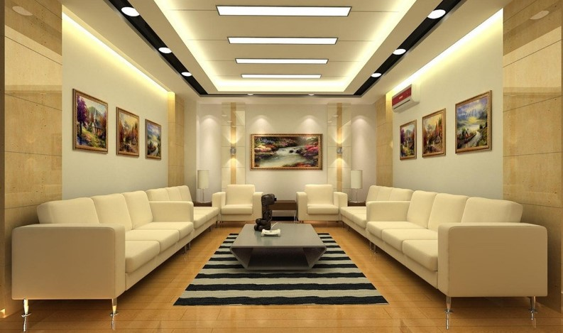 30 latest false ceiling design for rectangular living room for Latest ceiling designs living room