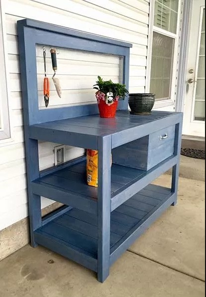 awe-inspiring wooden potting table with wheels #pottingbenchideas #benchdesign #pottingbench #benchideas