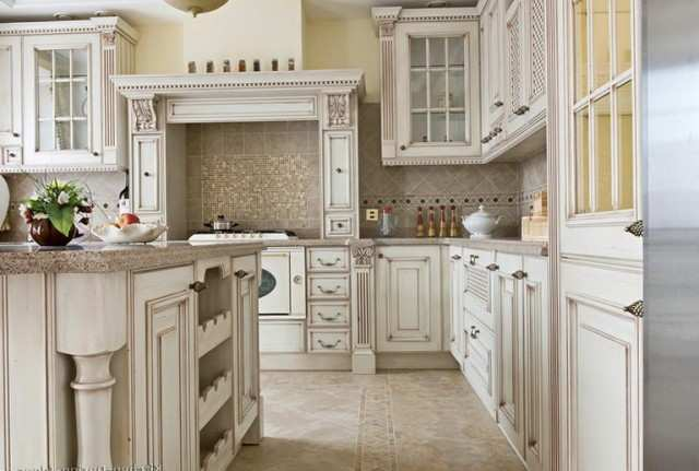 Antique White Kitchen Cabinets With Chocolate Glaze Of Antique White