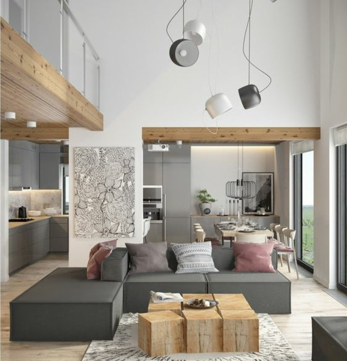 design-chic-et-naturel-canape-gris-table-originale-composee ...