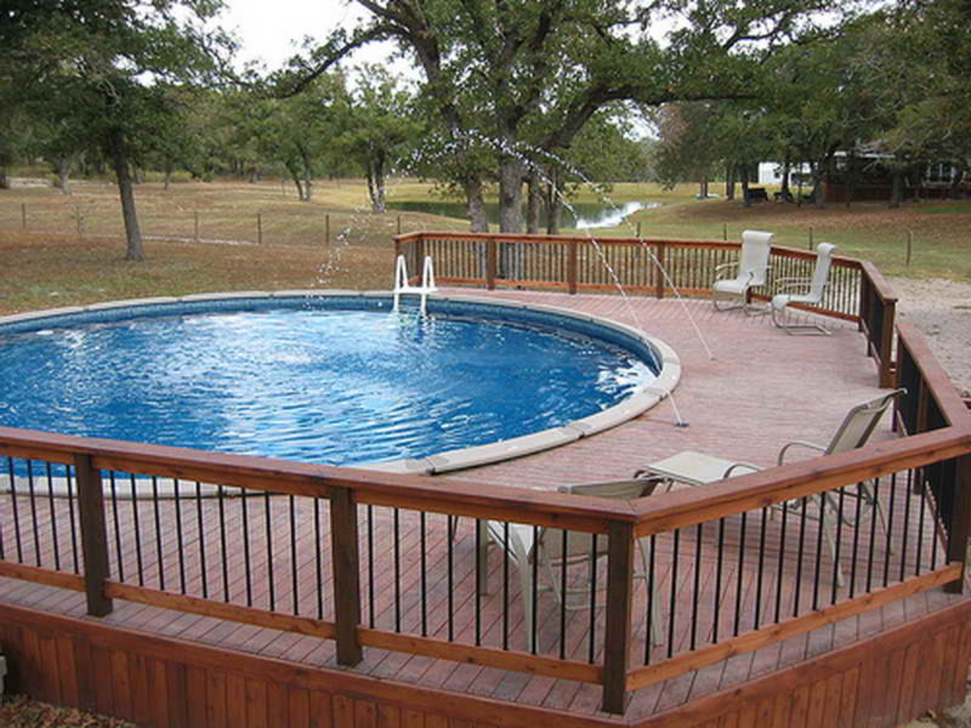 50 best above ground pools with decks - Custom above ground pool ...