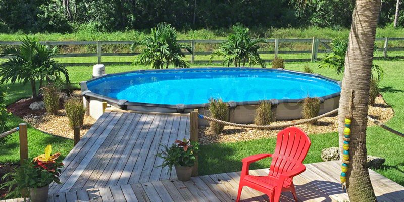 50 best above ground pools with decks for Above ground pool decks images