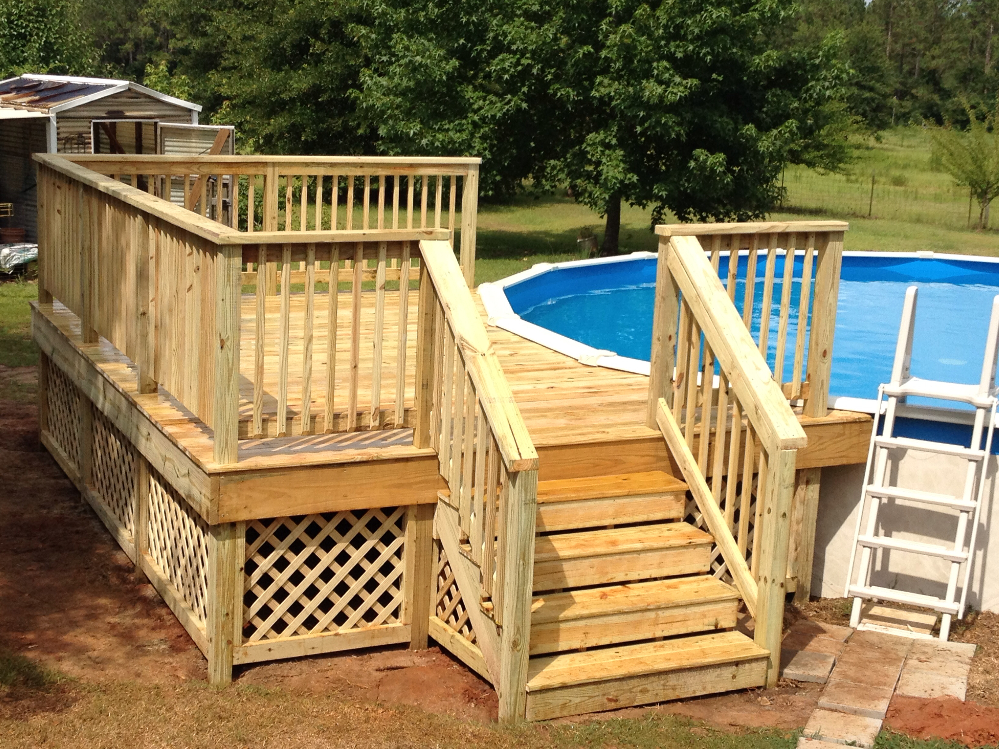 50 best above ground pools with decks - Above ground pool deck ideas on a budget ...