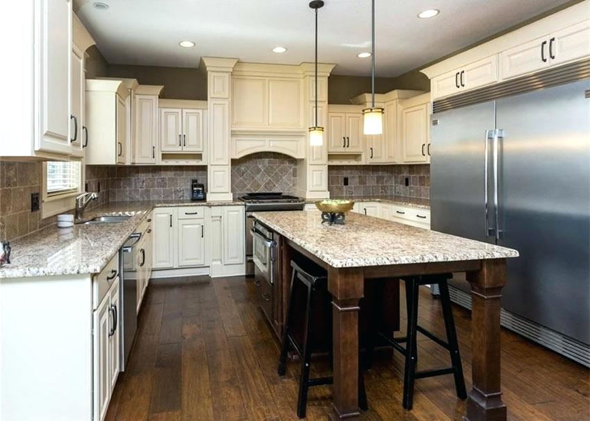 Rustic White Oak Kitchen Cabinets With Raised Panel Antique Dark Wood Floors And Island Design Photos Designing Idea Rais