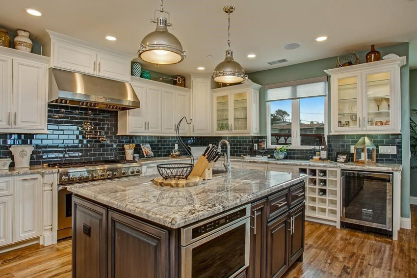 Transitional Kitchen With Antique White Cabinets Black Subway Tile