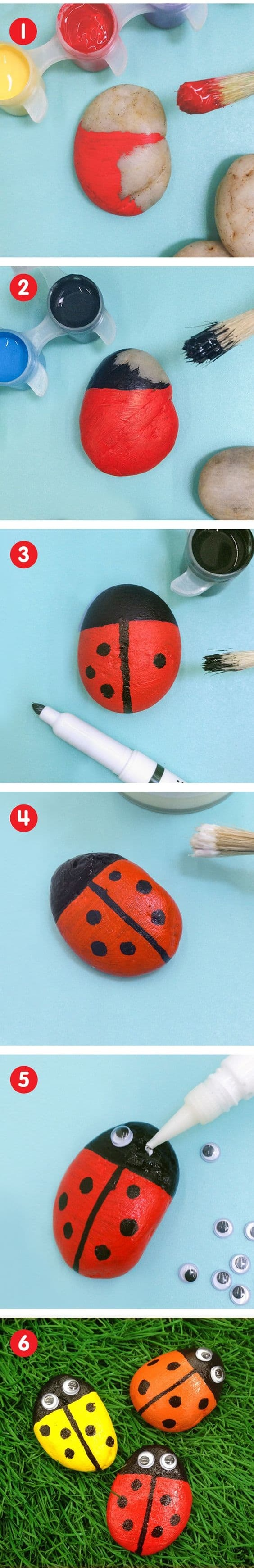 Ladybug Painted Rocks Ideas | How to Make It