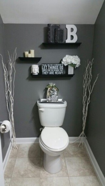 intimidating toilet for small powder room #halfbathroomideas #halfbathroom #bathroomideas #smallbathroom