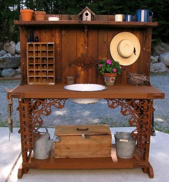 overwhelming teak potting bench with sink #pottingbenchideas #benchdesign #pottingbench #benchideas