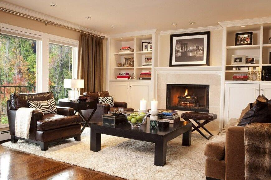 Decorating Ideas Family Room Brown Leather Furniture Elegant